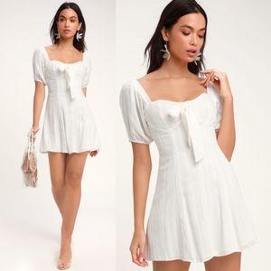 Lulu's Madeline White Tie Bust Peasant Sun Dress